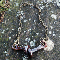 Rustic Ceramic Knot Pendant with Brown Glaze on Bronze Chain
