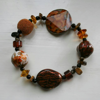 Brown and burnt amber beaded bracelet