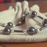 sterling silver and haematite stretch bracelet