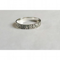 Men's oxidised, sterling silver ring