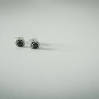 hammered silver studs with haematite
