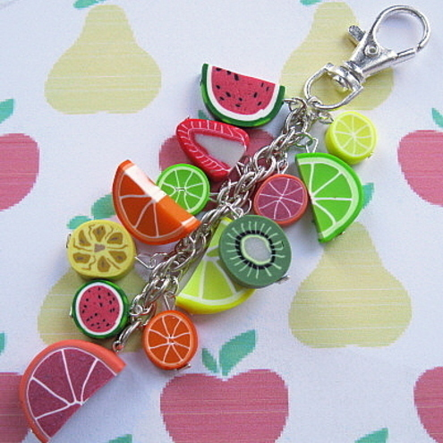 Fruit Salad Polymer Clay Bag Charm