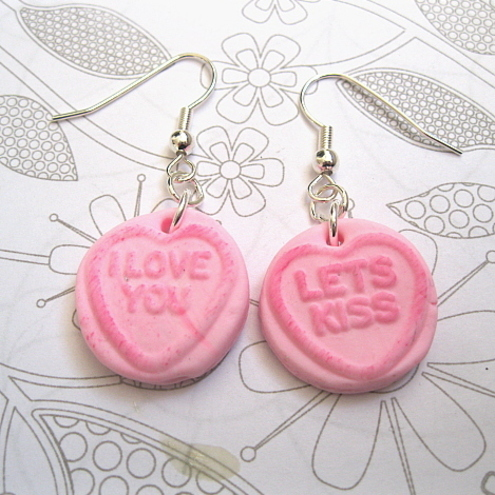Pink Loveheart Polymer Clay Earrings!!!!