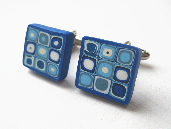 Blue Retro Cuff Links