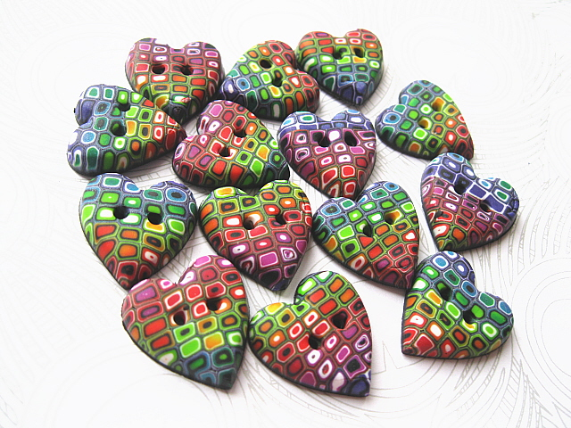 Rainbow Hearts Polymer Clay Buttons