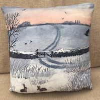 12x12 inch faux suede cushion from my image 'Winter Dawn'