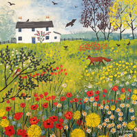 12 x 14 inch Canvas print from my painting 'Through the Flower Meadow'