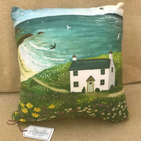 12 x 12 inch faux suede cushion from my image 'Seaside Cottage'