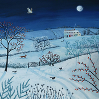 One Snowy Night - Print on paper of snowy landscape at night