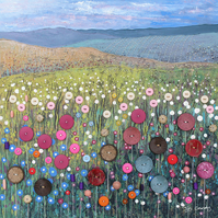 12 x 12 inch canvas print from my mixed media painting 'Button Meadow'