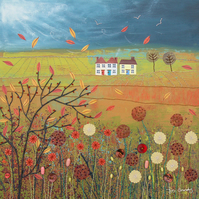 12 x 12 inch canvas print from my mixed media painting 'Autumn Storm'
