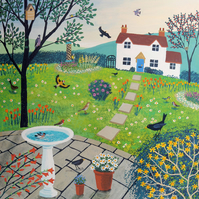 Canvas print from my painting 'Bird Garden'
