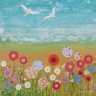 12 x 12 inch canvas print from my mixed media painting 'Coastal Flowers'