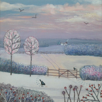 Canvas print from my mixed media painting 'Winter Morning'