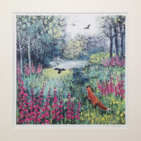 12 x 12 inch mounted print from my painting 'Through the Foxgloves'