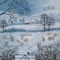 Print on paper from my mixed media painting 'Winter Fields' available in 2 sizes
