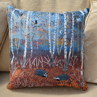 12x12 inch faux suede cushion from my image 'The Badgers of Autumn Wood'