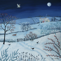 Canvas print from my painting 'One Snowy Night'