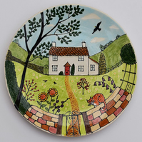 10 inch decorative kiln fired ceramic plate of country cottage with garden
