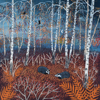 Canvas print from my painting 'The Badgers of Autumn Wood'