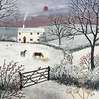Print on paper of snow scene with horse from my image 'Winter Grazing'