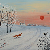 Pring on paper from my acrylic painting 'Winter Sunset' available in 3 sizes