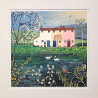 12 x 12 inch mounted print from my mixed media painting 'Riverside Cottages'