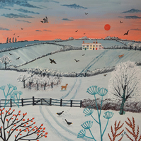 Print on paper of snowscape from my painting 'Sunset Over Winter Hills'
