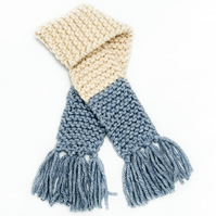 Kids Chunky Knit Scarf - Cream and blue with tassels