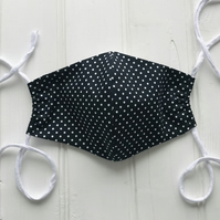 Cotton Face Mask with Filter Pocket - Black with dots