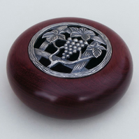 Purple Heart Potpourri Bowl with 'Grape Vine' Pewter Lid.  (B018)