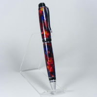 Fat Cigar Pen - Chrome plated trim - 'Red Chip' Acrylic. (P015)