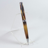 Streamline Ballpoint Pen in Chrome made with 'Leopard' Acrylic (P020)