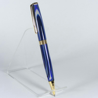 Streamline Ballpoint Pen with 'Midnight' Blue Acrylic and Gold Plate trim (P011)