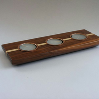 Tea Light Candle Holder – Walnut & Maple with metal inserts – H005