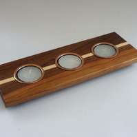 Tea Light Candle Holder – Walnut & Maple with metal inserts – H006