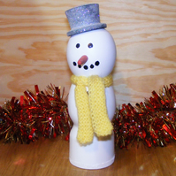 Snowman Fun Christmas Decoration with hat & Scarf - Handmade in Derbyshire