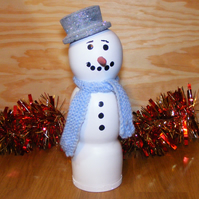 Wood Snowman Christmas Decoration with hat & Scarf - Handmade in Derbyshire