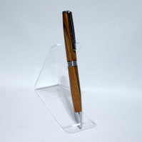 Ballpoint Pen in Chrome made from Elm with a Lacquer finish (P028)