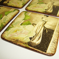 Coasters set of 4 white rose lady vintage sepia flower