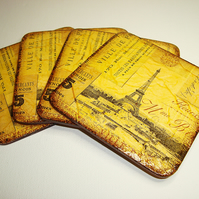 Coasters set of 4 Eiffel Tower France vintage sepia brown