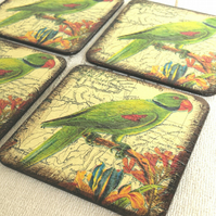 Coasters set of 4 parrot yellow green flowers map wood