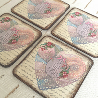 Coasters coaster set of 4 pink hearts wood yellow brown love