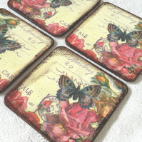 Coasters coaster set of 4 pink red butterfly rose roses flowers wood