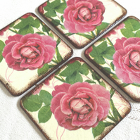 Coasters coaster set of 4 pink red rose roses love flowers green wood
