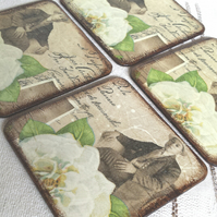 Coasters coaster set of 4 flower rose roses white brown sepia men