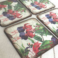Coasters set of 4 flowers yellow fuchsia red blue green leaves white