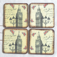 Coasters coaster set of 4 big ben london sepia brown england butterfly