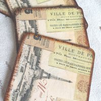 Coasters coaster set of 4 eiffel tower france sepia brown paris gift