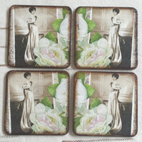 Coasters coaster set of 4 woman lady white rose roses sepia picture brown green